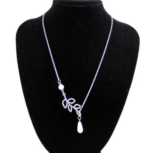 Charming Women Silver Color Leaf  Pearl Pendant Plated Clavicle Necklace Jewelry