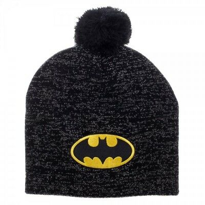Batman Logo DC Comics Reflective Cuff Knit Pom Hat Nwt