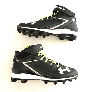 6726388cc77d Under Armour UA Crusher RM Football Cleats Black Neon Yellow Laces ...
