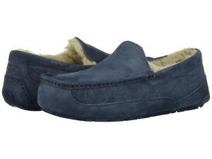 ea1daad02a2 Men UGG Ascot Suede Moccasin Slipper 5775 New Navy 100% Original ...