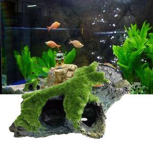 Aquarium-Tank-Ornament-Moss-Stump-Shelter-Hiding-Cave-Landscape-Underwater-Decor