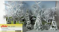 10 WINTER FOREST MODEL TREES ~ HEKI SCENERY 2101 FOR MODEL RAILWAY HO / TT SCALE
