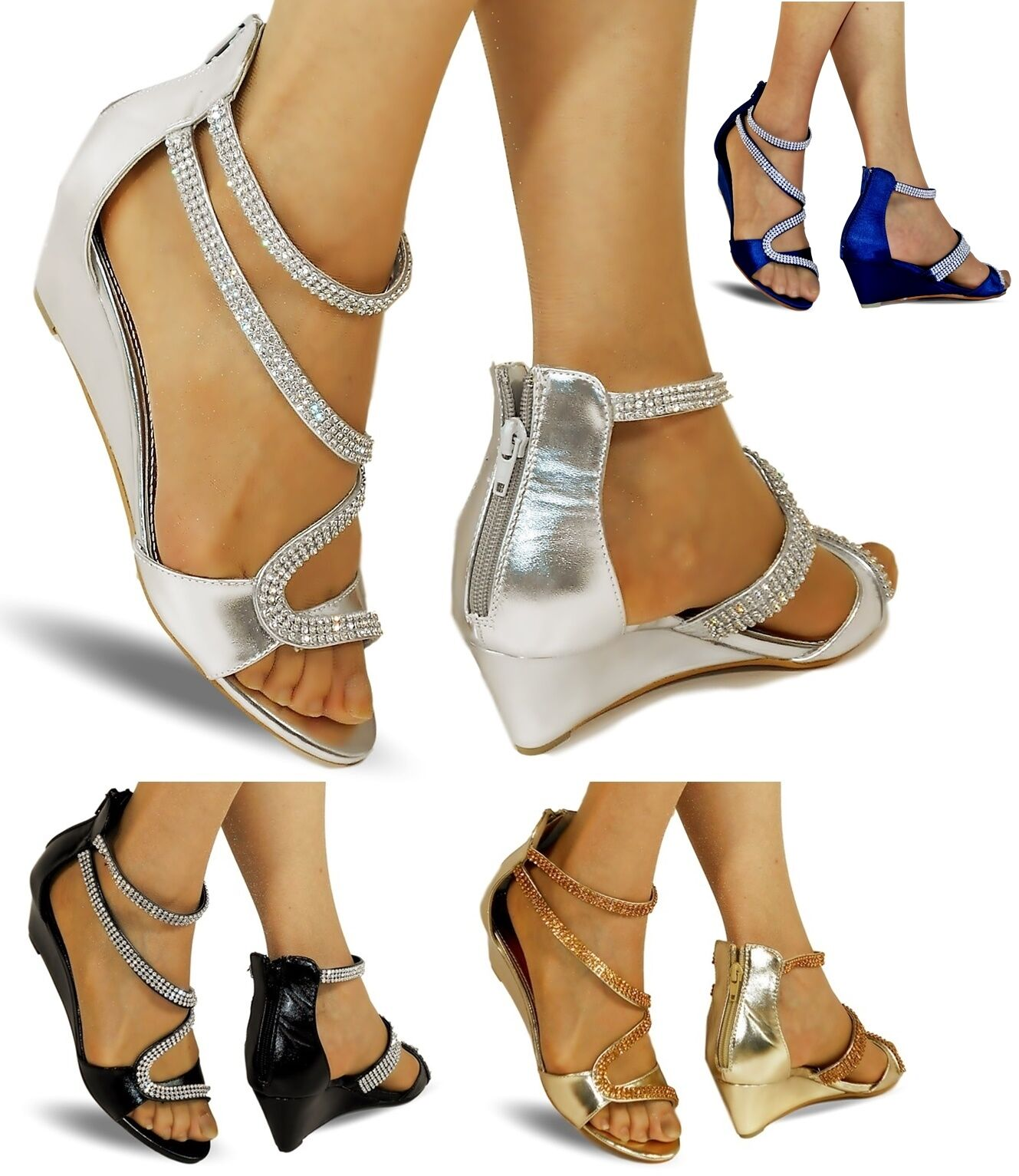 NEW Ladies Party Shoes Diamante Ankle Straps Low Wedge Heel Shoes Party Sandal Size-K331 749495