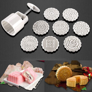 100g-8-Flower-Stamps-Round-Pastry-Moon-Cake-Mold-Mould-Cookies-Mooncake-Decor