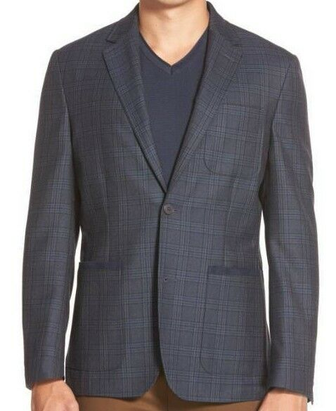 Vince Camuto Air  Slim Fit Plaid Blazer Größe X-Large Blau MSRP 295