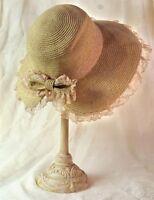 Victorian Trading Co. Sonnet Sunbonnet Woven Hat Floral Free Ship