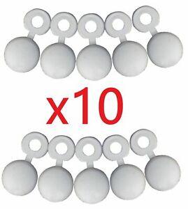 Lot-de-10-cache-rivet-Blanc-PLAQUE-IMMATRICULATION-PLEXIGLAS