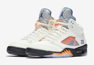 0f7410f379f8 Nike Air Jordan 5 Retro White Orange Black Blue Mens Basketball Shoe ...