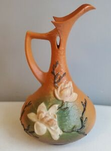 "Arts & Crafts Movement Hospitable Old Roseville Pottery Magnolia Large Ewer 1940's 15 ½"" Tall #15-15 For Repair Vivid And Great In Style"