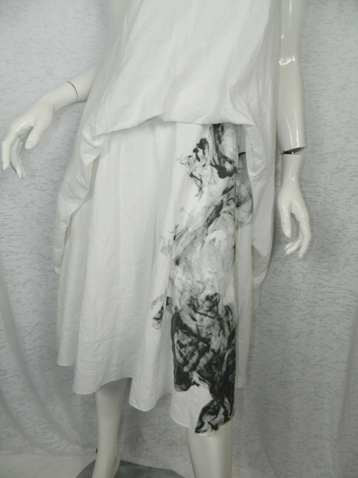 Artka Crazy in Life Dress Dress Dress White Boho Cotton Linen Maxi Floral Dress Medium fd7dc3