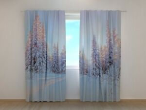 Christmas Curtain Winter Tale Wellmira Ready to Hang Winter Holiday Decor White
