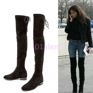 77e6ad63bbf Womens Slouch Over Knee High Thigh Boots Tall Riding Suede Low Heel ...