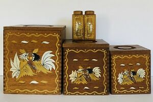 Vintage 70s Mid Century Modern Wood Hand painted Birds Kitchen Canisters Set of