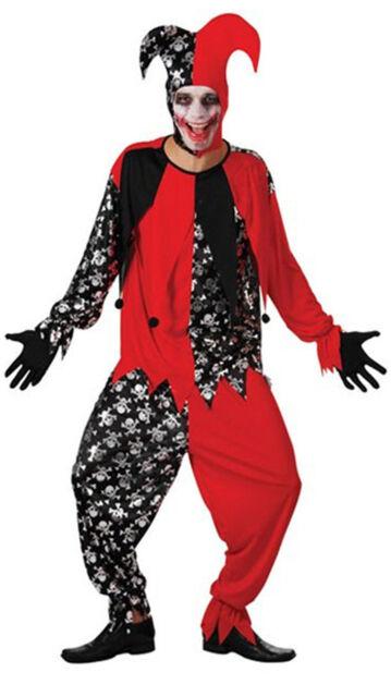 Halloween Joker Card.Mens Evil Jester Black Red Halloween Fancy Dress Costume Joker Card Outfit