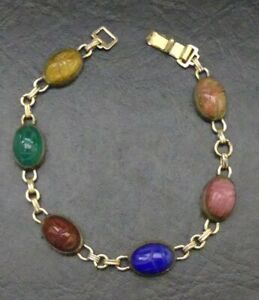 Bracelet-Vintage-GF-Multi-Colored-Stone-Scarab-Beetle-Cabochon-8-034-Signed-WRE