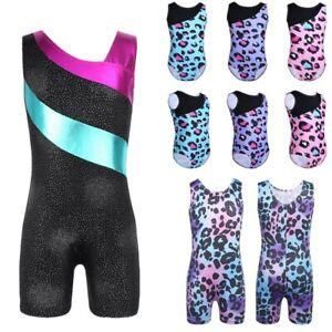 Girls-Ballet-Leotards-Gymnastics-Kids-Leopard-Unitard-Dance-Jumpsuit-Dancewear