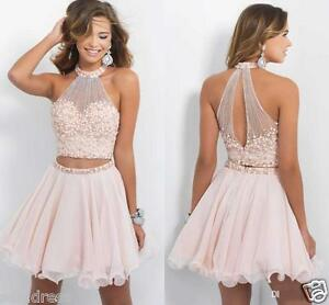 Pink Halter 2 Piece Short Cocktail Dress Prom Gown Pearl Formal