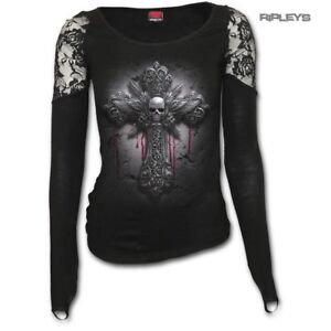SPIRAL-DIRECT-Ladies-Goth-CRUCIFIX-Skull-Cross-Lace-Top-L-Sleeve-All-Sizes