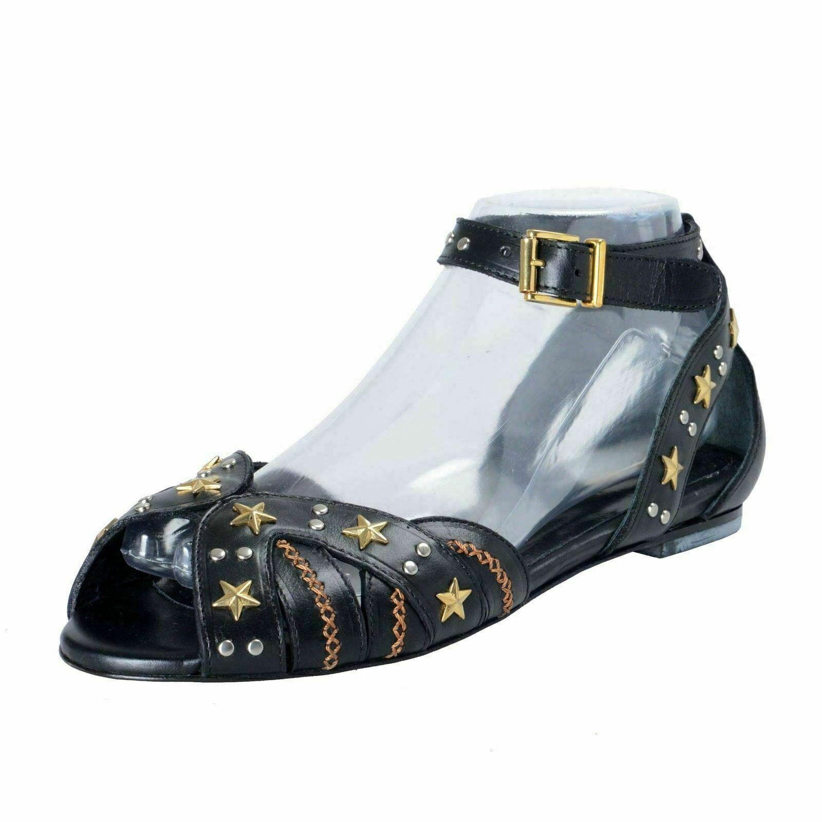 Just Cavalli Damen Schwarz Metall Nieten Leder Ballettschuhe Flache Schuhe Us 9