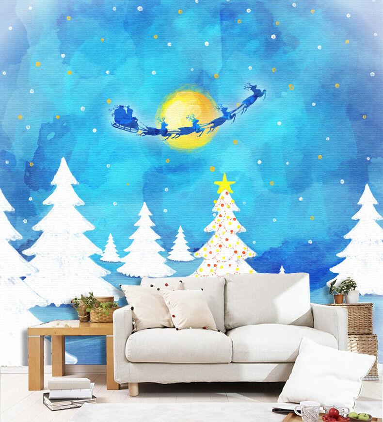 3D Blau Reindeer N181 Christmas Wallpaper Wall Mural Removable Self-adhesive Amy