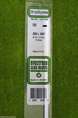 EVERGREEN STRIP STYRENE WHITE Plasticard .030 x .040 #132