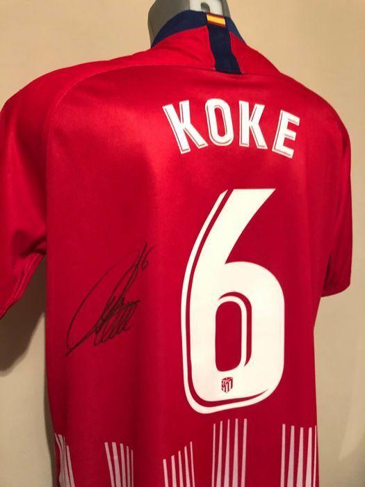 Camiseta oficial casa Atlético Madrid 2018 2019 Koke firmada signed