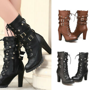 High-Heel-Women-039-s-Mid-Calf-Martin-Boot-Military-Buckle-Motorcycle-Ankle-Rivet