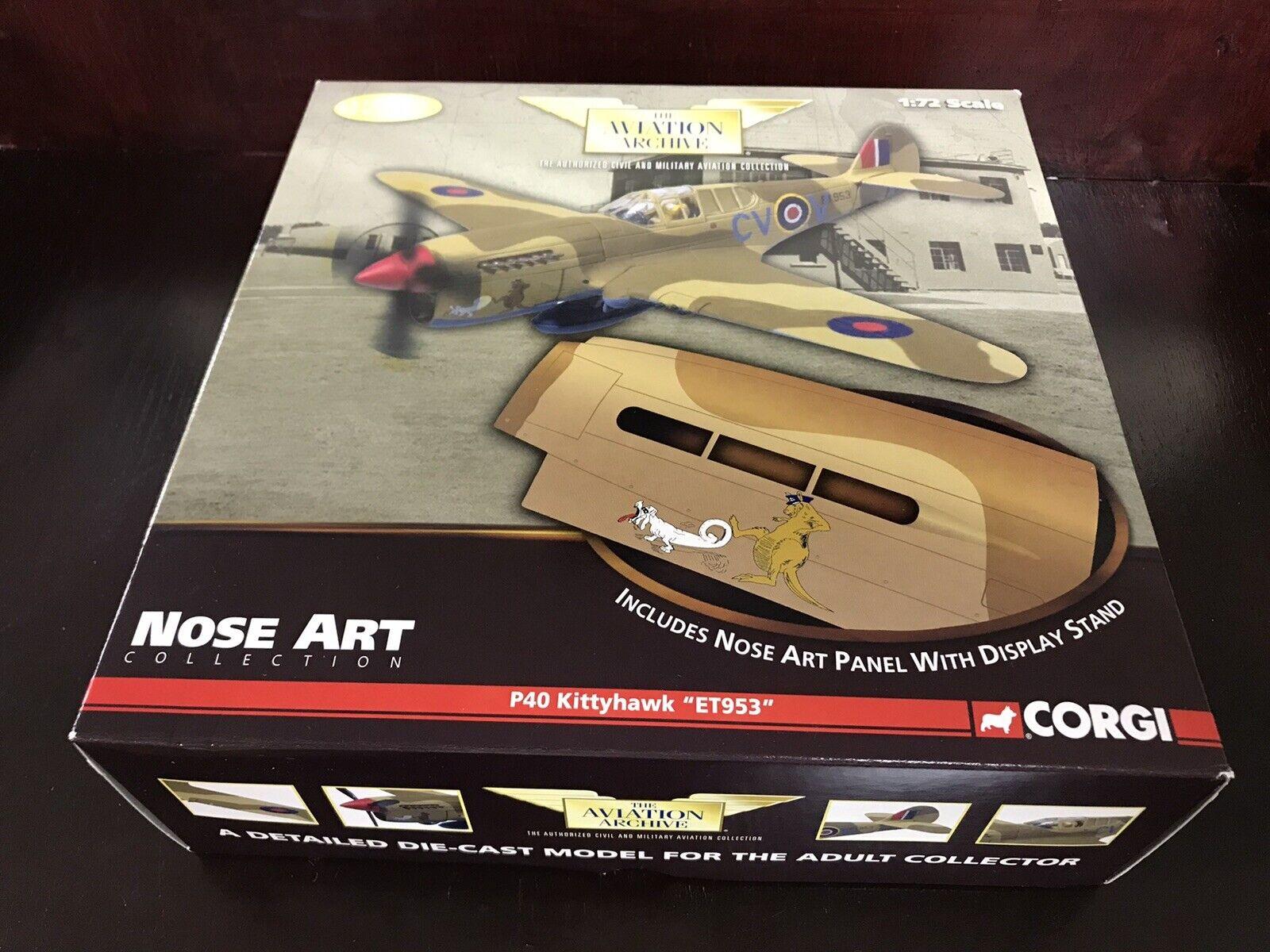 NEW Corgi US35207 P40 Kittyhawk  ET953  Airplane Model Nose Art Panel w  Stand