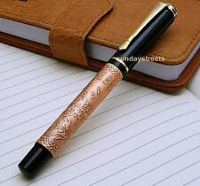 FOUNTAIN PEN CARVED RUNNING HORSES MEDIUM NIB (BAOER)- Copper - New