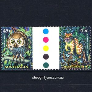 1997-Australia-Creatures-of-the-Night-gutter-pair-MNH