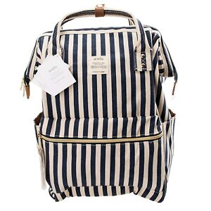 Anello Blue w/ White Stripe Japan Unisex Fashion Backpack Rucksack Diaper Bag