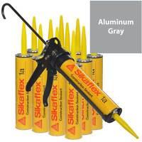 Sikaflex 1a Polyurethane Sealant, 10.1 Oz, 12 Pack, Pro Caulk Gun, Aluminum Gray
