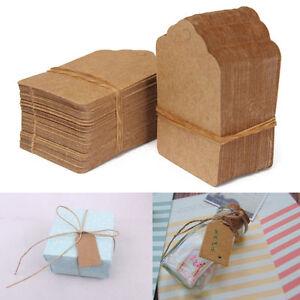 Vintage-Blank-Brown-Kraft-Paper-Hang-Tags-Wedding-Favor-Label-Gift-Cards-100X-2Y