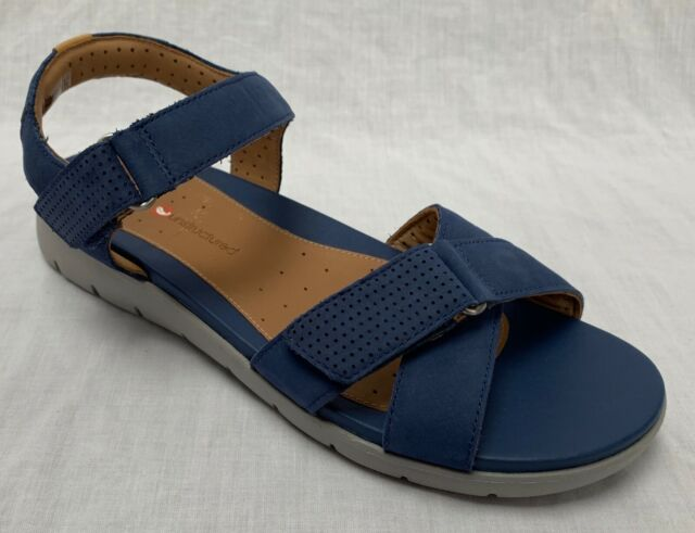 cfc6f1241178 BNIB Clarks Unstructured Ladies Un Saffron Blue Nubuck Leather Flat Sandals