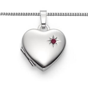 Herz Medaillon mit Zirkonia Stern rot Foto Amulett Anhänger mit Kette Silber 925