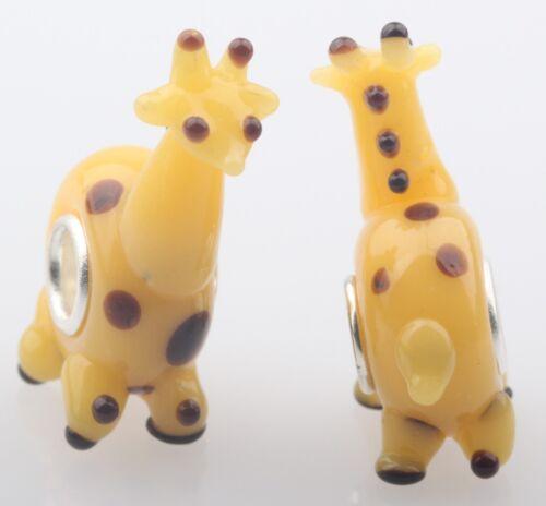 1pcs SILVER MURANO GLASS BEAD LAMPWORK Animal Fit European Charm Bracelet DW031