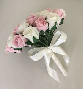 Image Is Loading Artificial Ivory Pink Foam Rose Wedding Flowers Bouquet