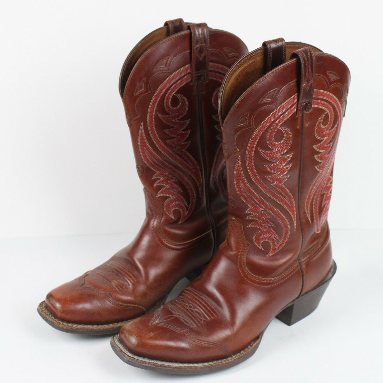 Ariat 7.5 Chestnut Legend Cowboy Boots 7.5 Ariat Leather Brown Stitching Western 117626