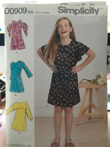 Details about Simplicity Girls dress pattern D0909 Size 8-16 1/2 Plus size  varying sleeve neck