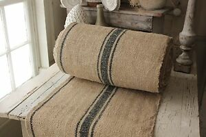 Superieur Vintage Table Stair Runner Grain Sack Fabric Yardage Blue Stripe