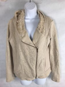 Lucky-Brand-Womens-Moto-Jacket-Beige-Hooded-w-zipper-SZ-L