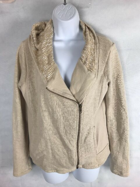 Lucky Brand Womens Moto Jacket Beige Hooded w/zipper SZ L