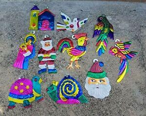Set of 10 Tin Mexican Christmas Ornaments, Oaxaca, Mexico ...