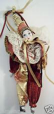 """Clown Doll Porcelain Face Arms & Legs 10"""" Tall Burgundy and Gold Tear on Face"""