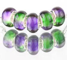 5pcs SILVER MURANO LAMPWORK Beads Fit European Charm Bracelet DIY #D509