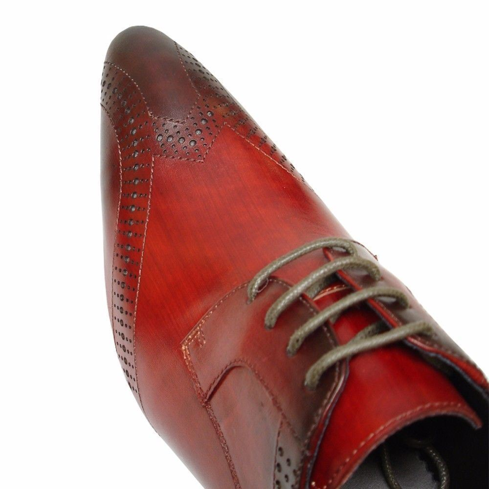 Fiesso Fiesso Fiesso Burgundy rot Leather Fashion Brogue Perforated Lace Up Dress Mens schuhe a17bfd