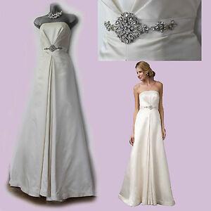 MONSOON-Ivory-Satin-Embellished-Waist-Strapless-Wedding-Maxi-Dress-size-12