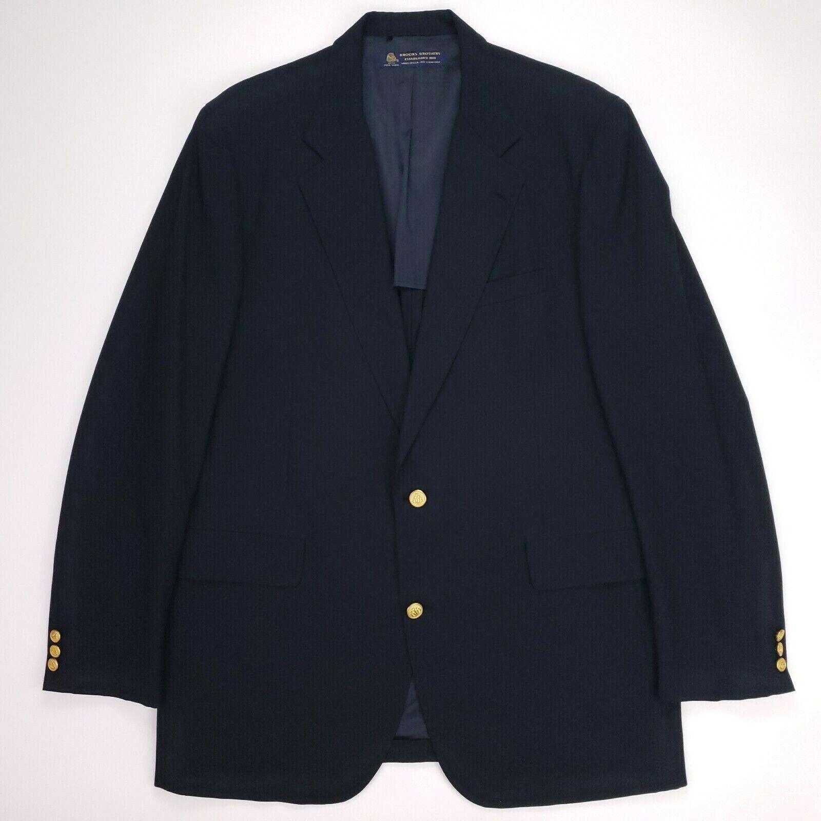 Brooks Bredhers bluee Blazer 44XLG Navy Wool 2 Button gold Buttons Mens Sz Spring