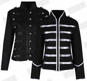 Womens-Black-Silver-Parade-Ladies-Jacket-Steampunk-Military-MCR-Punk-Rock-Gothic