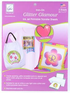 June Tailor Iron-On Glitter Glamour Ink Jet Printable Transfer Sheets 2pc